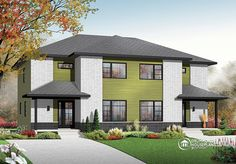 """DrummondHousePlan #3060, """"Lindenwood"""" provides two beautiful semi-detached homes with a modern-contemporary flair."""