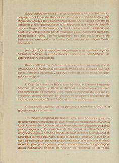Distribución de grupos Nativos en el Nuevo Reyno de León. siglo XVII. del libro folklore de Nuevo Leon de Jesús Daniel Andrade G. 1987