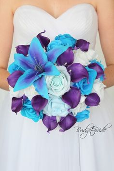 Turquoise and purple theme wedding flower brides bouquet with lily wedding flowers – Wedding İdeas Blue Purple Wedding, Purple Lily, Purple Wedding Bouquets, Purple Wedding Flowers, Bride Bouquets, Flower Bouquet Wedding, Purple Themed Weddings, Purple Turquoise Weddings, Bright Purple Bridesmaid Dresses