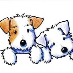 Art: KiniArt Sealyham Terriers by Artist KiniArt - Happy Tiere Sealyham Terrier, Fox Terrier, Terriers, Cute Drawings, Animal Drawings, Dog Illustration, Illustrations, Cartoon Cartoon, Cartoon Dog Drawing