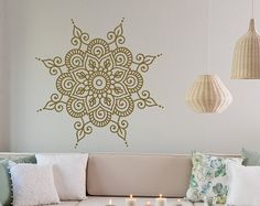Mandala Wall Decal vinilo pegatina - Mandala arte Boho bohemio la pared marroquí adorno dormitorio decoración India Mandala Yoga Studio decoración de la pared #42