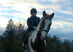 11 year old, Julia, was thrilled to have her lesson this evening on Amado! As you can see, Amado is already fully equipped with his winter coat.