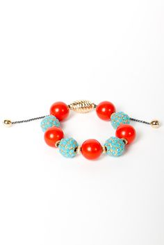 coral & turquoise beaded bracelet