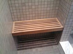 Bathroom, Simple Built In Custom Teak Shower Bench With Rail Seat As Decorate Small Open Shower Bathroom Furnishing Ideas: Great Teak Shower...
