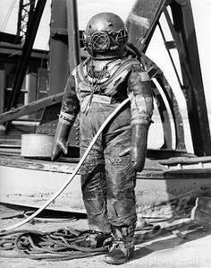 SuperStock - 1930S 1940S Full Figure Of Man In Underwater Hard Hat Deep Sea Diving Suit