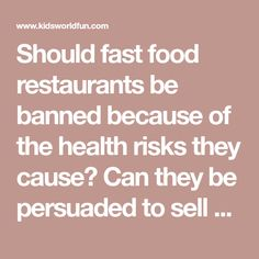 Should fast food restaurants be banned because of the health risks they cause? Can they be persuaded to sell healthy food? A discussion. Free and downloadable. Fast Healthy Meals, Healthy Food, Healthy Recipes, Fast Food Restaurant, Eating Habits, Teacher Resources, Restaurants, Things To Sell, Canning