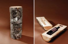 Hollowed out Log for Bottle Package