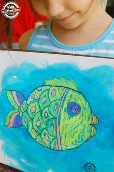 Fish Coloring Page with Gel Paint - Kids Activities Blog