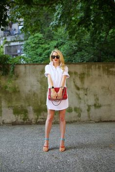 love this! white shirtdress, Chanel bag and colorful sandals