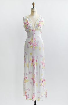 vintage 1930s floral rayon bias cut gown