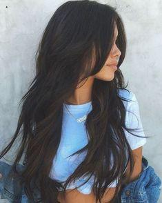 Black Hair Layers, Black Hair Cuts, Black Hair With Highlights, Hair Color For Black Hair, Long Hair Cuts, Hair Highlights, Darkest Brown Hair Color, Dyed Black Hair, Long Layered Hair With Side Bangs