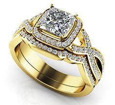 $2,850  -  * EGL CERTIFIED * 1.31 CARATS PRINCESS DIAMOND HALO WOVEN BAND BRIDAL SET ON 14K SOLID YELLOW GOLD F 26 D http://www.amazon.com/dp/B00OVECXKG/ref=cm_sw_r_pi_dp_tSNyub0BCVM6K