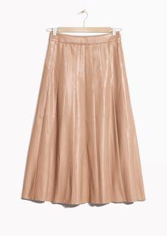 Faux Leather Pleats Skirt