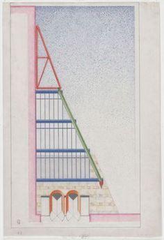 James Stirling - Staatsgalerie Stuttgart, Stuttgart, Germany, Elevation of gallery entrance