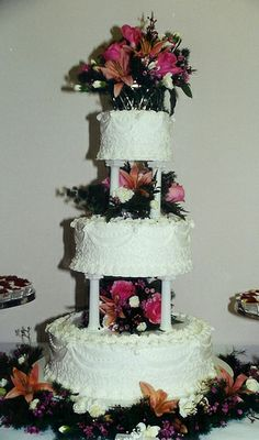 .Three-Tier Wedding Cake with Columns and Filigree by Karla Cakes, via Flickr