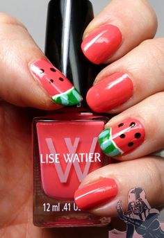 Lise Watier Watermelon nails from pinksith.com