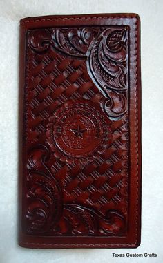 Handmade Leather Roper Wallet with Western by texascustomcrafts