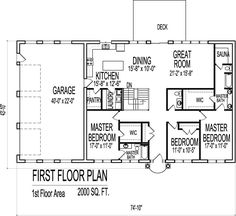 Open layout with separate suites...add master at screen porch and ...
