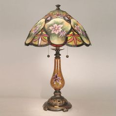 Dale Tiffany Lamps Antiques Roadshow Hand Painted Alamand  Table Lamp in Antique Golden Sand - RT50031