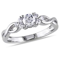 1/2 CT TW Diamond Engagement Ring in 14K White Gold - (