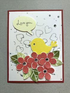 """Valentine card using the """" Bird Tweet"""" stamp and die set from Fun Stampers Journey. Cased from FSJ catalog."""