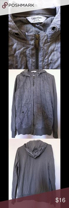 Calvin Klein Mens Hooded Sweater Classic fit hooded sweater by Calvin Klein                       • only flaw is lack of drawstring (noted in first image) • Calvin Klein Sweaters Zip Up