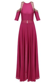 Samatvam Pink floral embroidered cold shoulder kurta and pants set available only at Pernia's Pop Up Shop. Pakistani Fashion Casual, Pakistani Outfits, Indian Outfits, Indian Fashion, Indian Clothes, Women's Fashion, Grey Prom Dress, I Dress, Designer Gowns