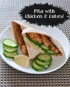 ... Seasoned Chicken, Cucumbers, Hummus, all stuffed in a toasted Pita