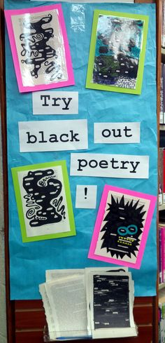 Use stripped YA books? B-Fest Passive programming for YA section. Pages from weeded books and Sharpies. Participants create poetry by leaving select words visible and blacking out the rest. School Library Displays, Middle School Libraries, Elementary Library, Library Week, Teen Library, Library Lessons, Teen Programs, Library Programs, Library Signage