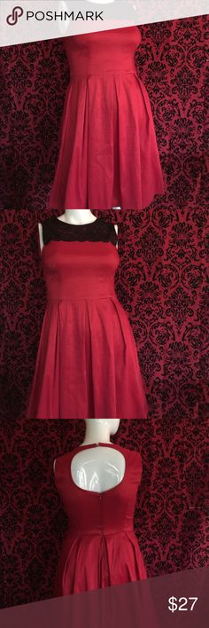 🎉🎉HP 🎉🎉London Times Red and Lace dress Size 14 with stretch it has two tiny keyhole buttons at the neck and a zipper it is like new I wore it once very flattering with the pleats London Times Dresses