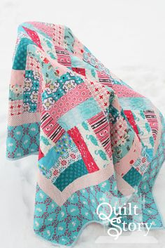 Quilt Story: Quilt made for our sister, rail fence pattern, pink and aqua AND Bunnies!