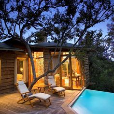 Tsala Treetop Lodge, Plettenberg Bay, South Africa: Tucked off the Western Cape in South Africa sits the Tsala Treetop Lodge, 16 suites and villas nestled into the trees of an indigenous forest. with own private deck and infinity pool; Resorts, The Places Youll Go, Places To Go, Tree House Resort, Treehouse Hotel, Treehouse Vacations, Cool Tree Houses, Beste Hotels, Travel And Leisure