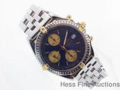 Genuine Breitling 18k Gold SS Chronograph Chronometer Mens Watch B13050