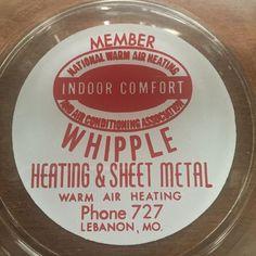 Vintage Whipple Heating & Sheet Metal Lebanon Missouri Glass Ashtray  | eBay
