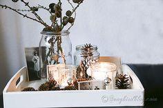 simple natural Christmas vignette via http:// www.songbirdblog.com