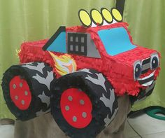Blaze And The Monster Machines Party, Blaze The Monster Machine, Third Birthday, 3rd Birthday Parties, Boy Birthday, Monster Truck Party, Monster Trucks, Birthday Pinata, Hot Wheels Birthday