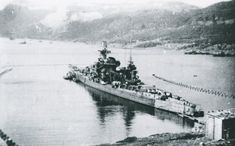 Scharnhorst in Kafjord, Norway, September 1943.  She never returned from there, being sunk in December by a British task force led by the battleship HMS Duke of York whilst attempting to intercept an Arctic convoy.  Note aft positioning of her mainmast, which made her easy to distinguish from sister Gneisenau (photo nearby).