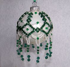 Beaded Ornament Cover Green Fire Polish and by luckycharm5286