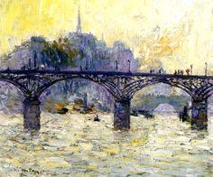 """KEES van DONGEN - """"Le Pont des Arts"""" - Huile sur toile (46 x 55)"""