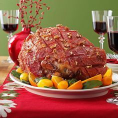 Maple-Pecan Glazed Ham Recipe -Maple syrup is reduced to concentrate its lovely flavor. Then it is spiced up to create a delicious glaze for ham, which browns up to a rich color. It is a wonderful treatment from the usual pineapple and brown sugar glaze.—Nancy Mueller, Menomonee Falls, Wisconsin