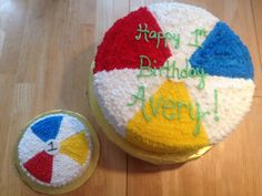 Shana's Sweet Cakes - Beach ball cake with matching smash cakes made by moi! Shana's Sweet C Ball Theme Birthday, Beach Ball Birthday, Water Birthday, Baby Boy First Birthday, Birthday Fun, Birthday Ideas, Birthday Sheet Cakes, First Birthday Cakes, First Birthday Parties