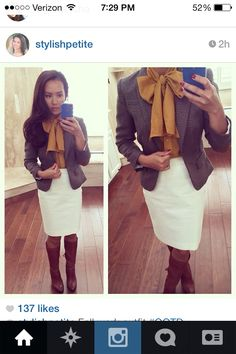 White skirt, mustard blouse, gray blazer, brown boots. White in the fall.