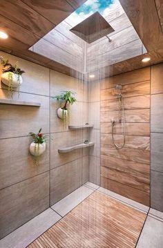 This shower has a skylight, what a brilliant idea! #house #garden #arts #machine #repair #diydeco