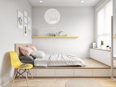 Tiny Bedroom Design, Small Master Bedroom, Home Room Design, Bedroom Designs, Blue Teen Girl Bedroom, Bedroom Yellow, Girl Rooms, Bedroom Wood Floor, Platform Bedroom