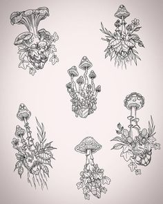 Here's a new page of ready to be tattooed fungus islands I lined up while watc. - Here's a new page of ready to be tattooed fungus islands I lined up while watching the new baby. Flash Art Tattoos, Body Art Tattoos, Small Tattoos, Tatoos, Cool Art Drawings, Art Drawings Sketches, Tattoo Drawings, Tattoo Art, Mushroom Drawing