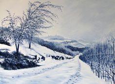 Passeggiata Invernale Verso La Morra - Acrilico su Tela 70x50cm - 2014 Winter Walk to La Morra - Acrylic on Canvas 70x50cm - 2014