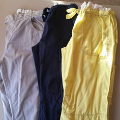 *reserved *Women's Scrub Pants 2 pair of Koi Lindsay Pants sz L.  1 pair of Healing Hands XL pants. Koi pant colors are Yellow and Navy. Navy has couple of very small bleach spots, that is why I'm pretty much giving them away,, but they have a lot of use left in them. The other 2 show no wear and tear. Koi Pants