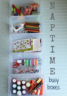 For those days when you need some quiet time for your little ones. Naptime Busy Boxes {Onekriegerchick.com}
