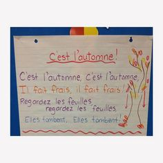Fall song for French Immersion Spanish Lessons For Kids, French Lessons, French Teacher, Teaching French, Teaching Time, Teaching Reading, Spanish Teaching Resources, French Resources, Spanish Activities