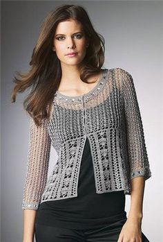 Fabulous Crochet a Little Black Crochet Dress Ideas. Georgeous Crochet a Little Black Crochet Dress Ideas. T-shirt Au Crochet, Crochet Bolero Pattern, Pull Crochet, Gilet Crochet, Mode Crochet, Crochet Coat, Crochet Cardigan Pattern, Crochet Shirt, Crochet Jacket